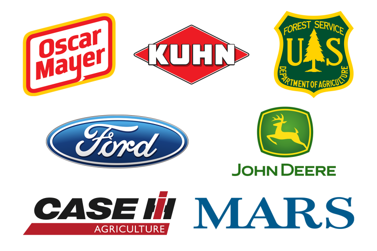 Oscar Mayer, Kuhn, US Forest Service, Ford, John Deere, CASE IH, and Mars logos