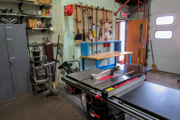The woodworking area at the machine shop